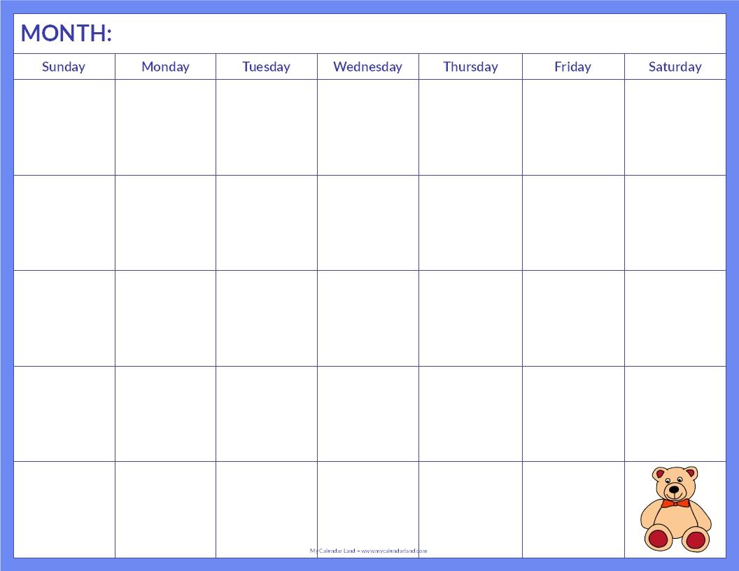 Blank Kids Calendar : Blank calendar printable my land