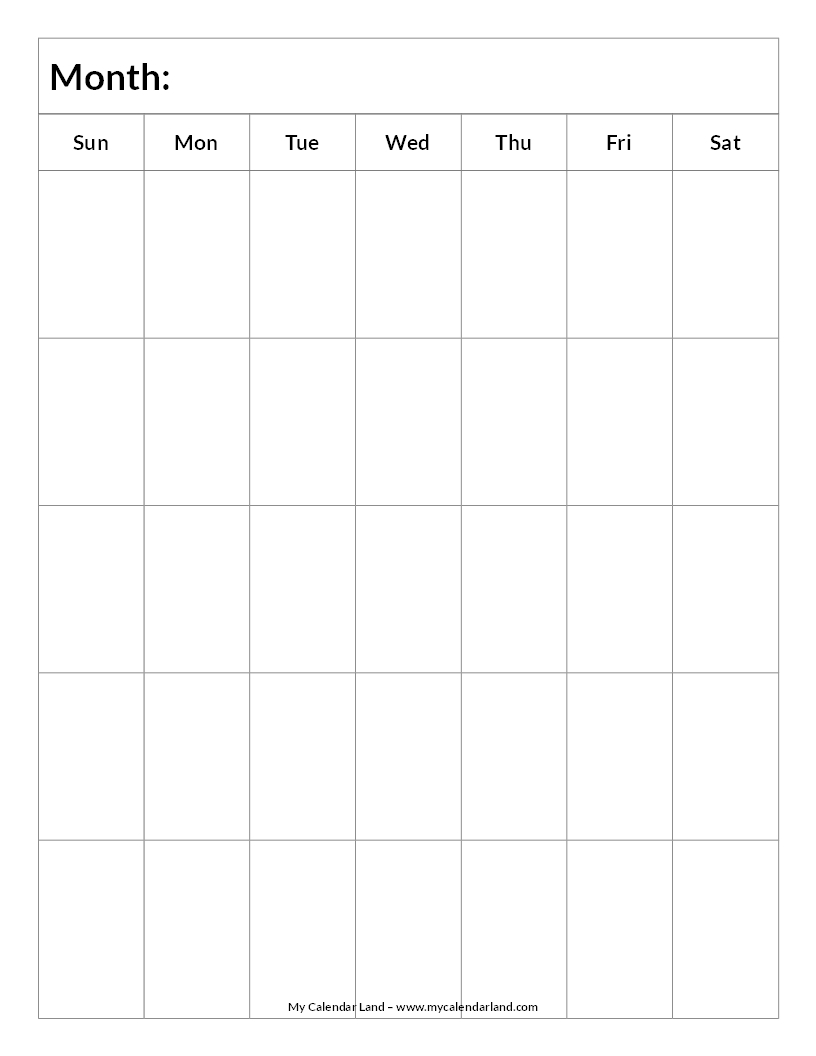 "Blank Calendar By Week : Search results for ""blank monthly calendar grid"