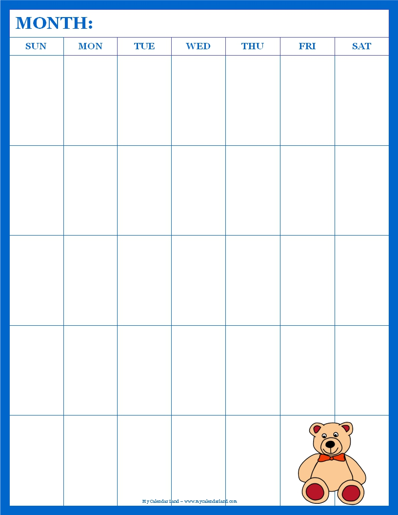 Kids Weekly Calendar : Blank calendar printable my land