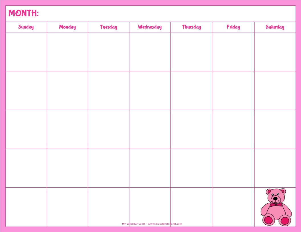 blank calendar kids with pink teddy bear landscape 5 weeks
