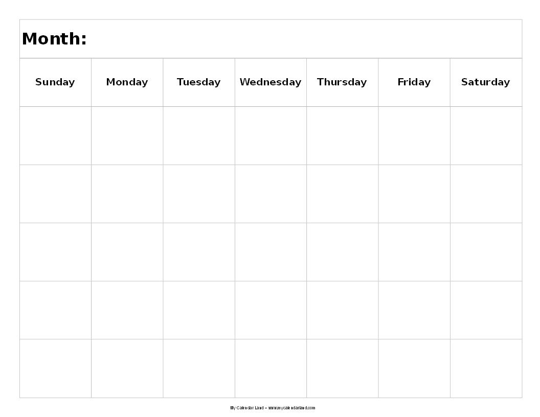 blank calendar landscape 5 weeks