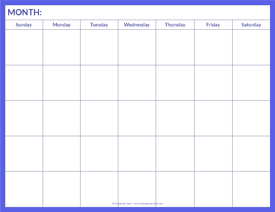 Blank Calendar Template – Free Printable Blank Calendars by Vertex42