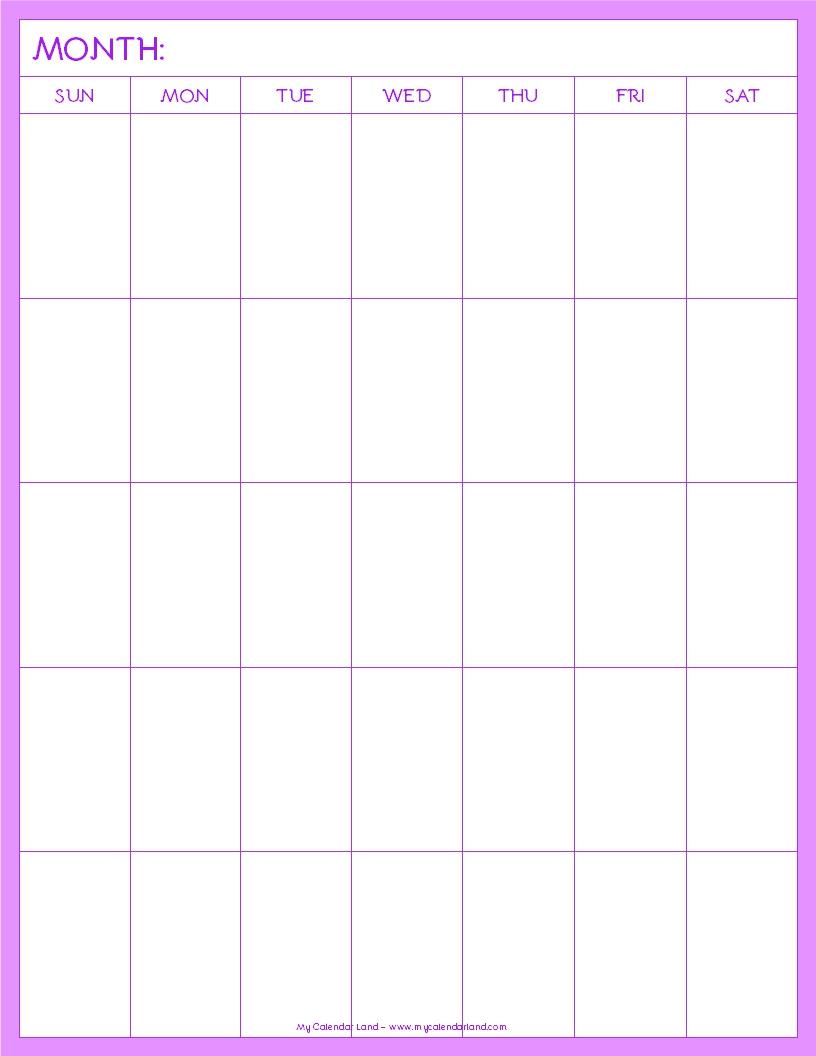 Blank Calendar Page : Blank calendar printable my land