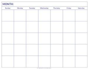 Blank Calendar - My Calendar Land