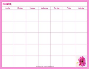 blank calendar with pink flower