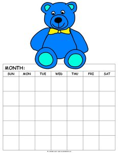 free blank calendar for kids blue teddy bear 5 weeks