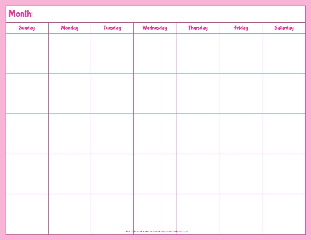 Cute Blank Calendar Template | Printable Calendar Template