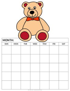 printable blank calendar for kids beige teddy bear 5 weeks