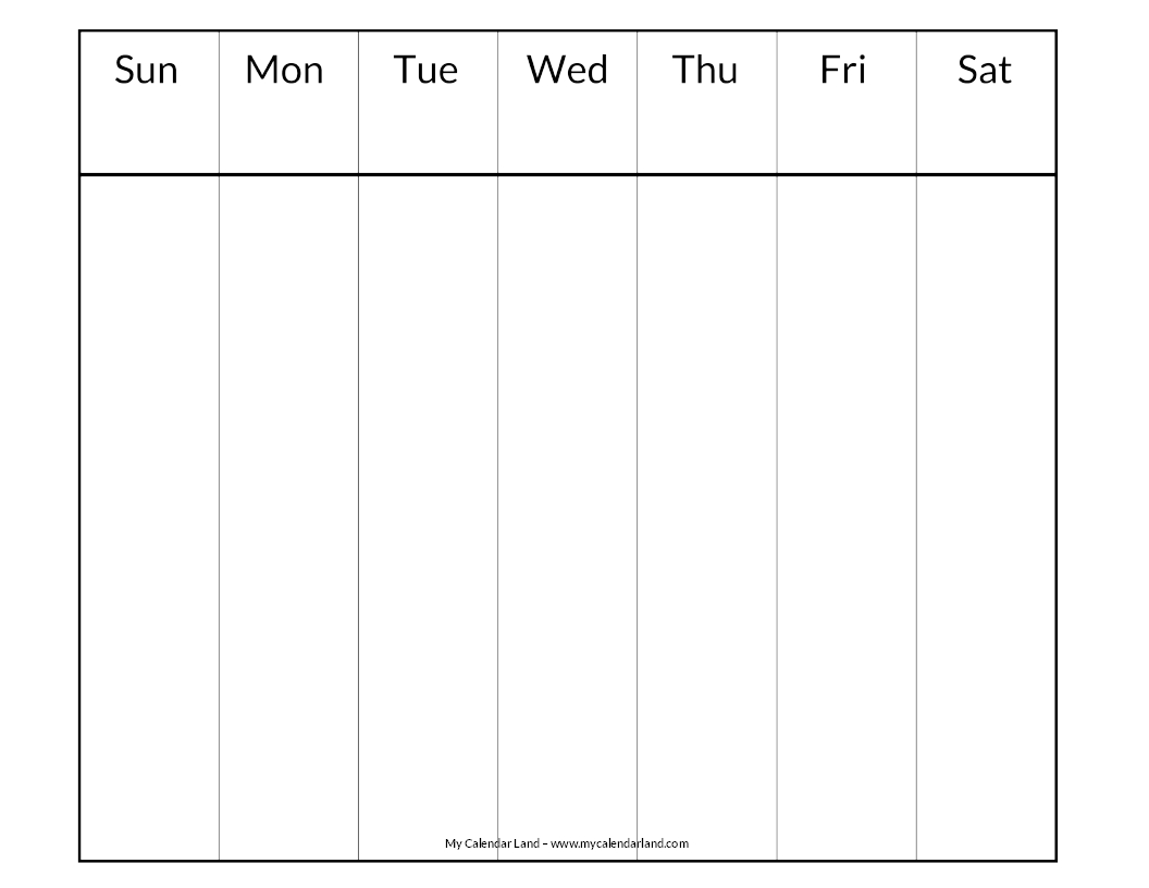 Blank Calendar With Days Of The Week : Blank calendar printable my land