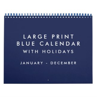 blank calendar with holidays blue large print