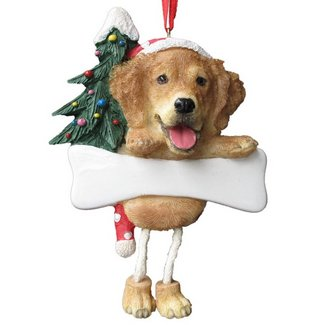cute golden retriever chrismas ornament