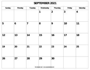 blank september calendar
