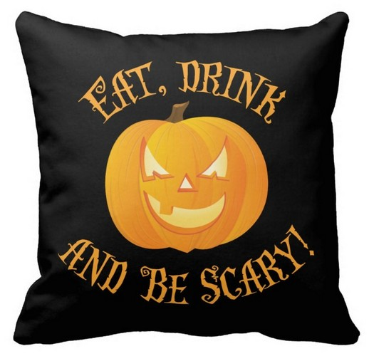eat drink be scary black halloween pillows