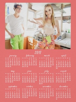 Add Photo Coral Poster Yearly 2017 Calendar