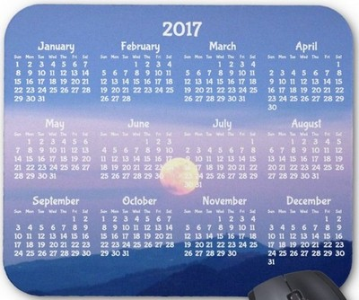 Custom Yearly Calendar 2017 Mouse Pads Full Moon