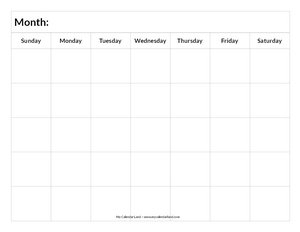 image regarding -16 Calendar Printable called Blank Calendar Printable - My Calendar Land
