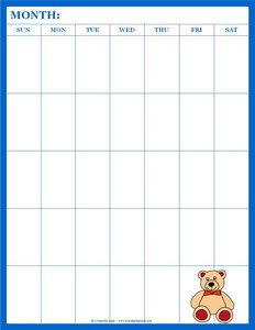 blank calendar for kids with teddy bear portrait 5 weeks