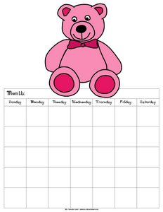 blank calendar for kids pink teddy bear 5 weeks