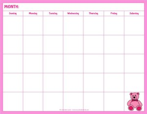 blank calendar kids with pink teddy bear landscape 5 weeks
