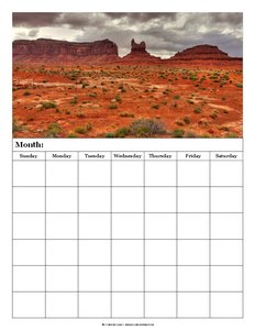 blank calendar monument valley 6 weeks