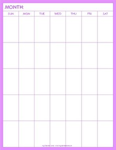 blank calendar pages to print