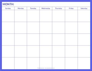 blank calendar pages to print free 5 weeks
