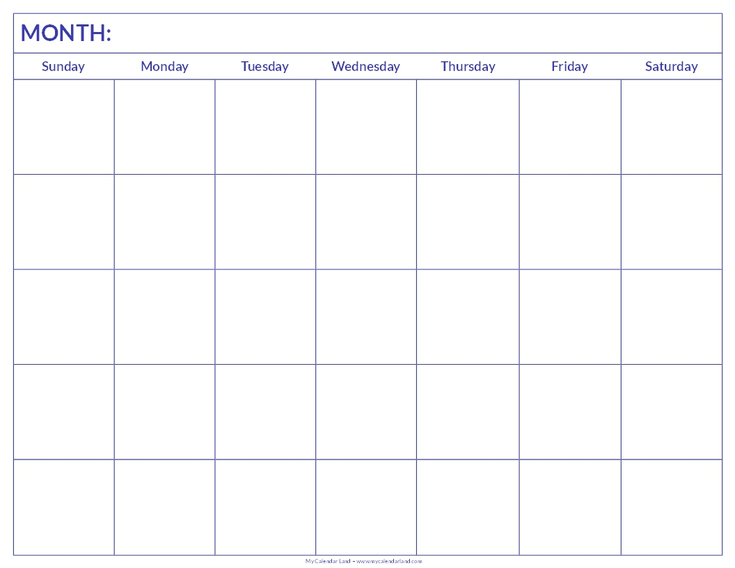 Weekly Calendar Print Out : Blank calendar printable my land