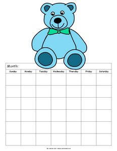 blank calendar teddy bear light blue 6 weeks