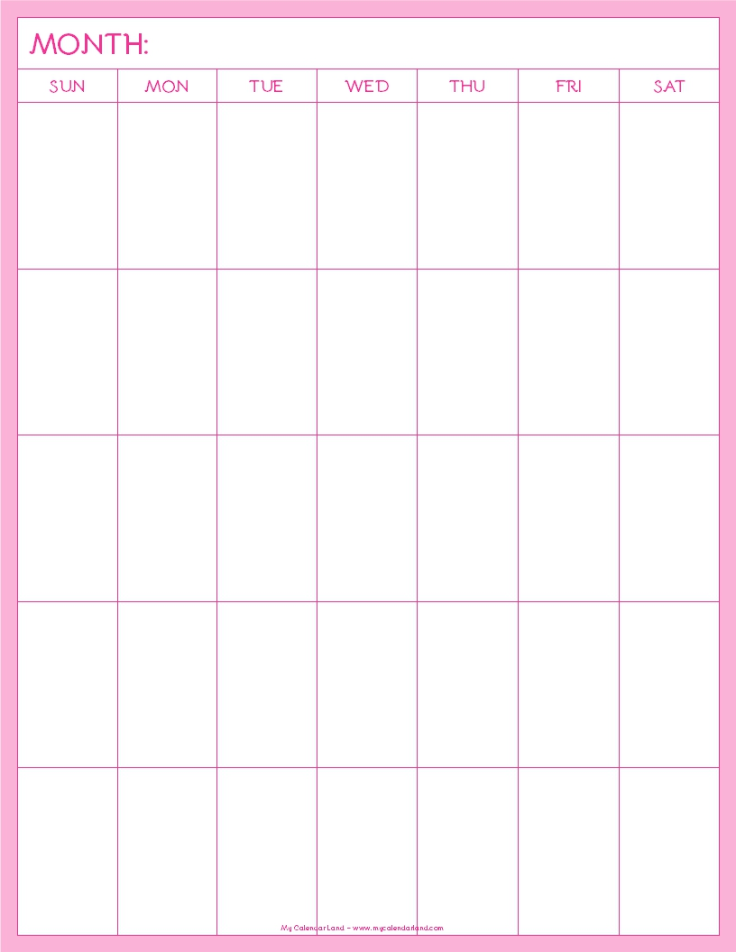 Blank Calendar For : Blank calendar printable my land
