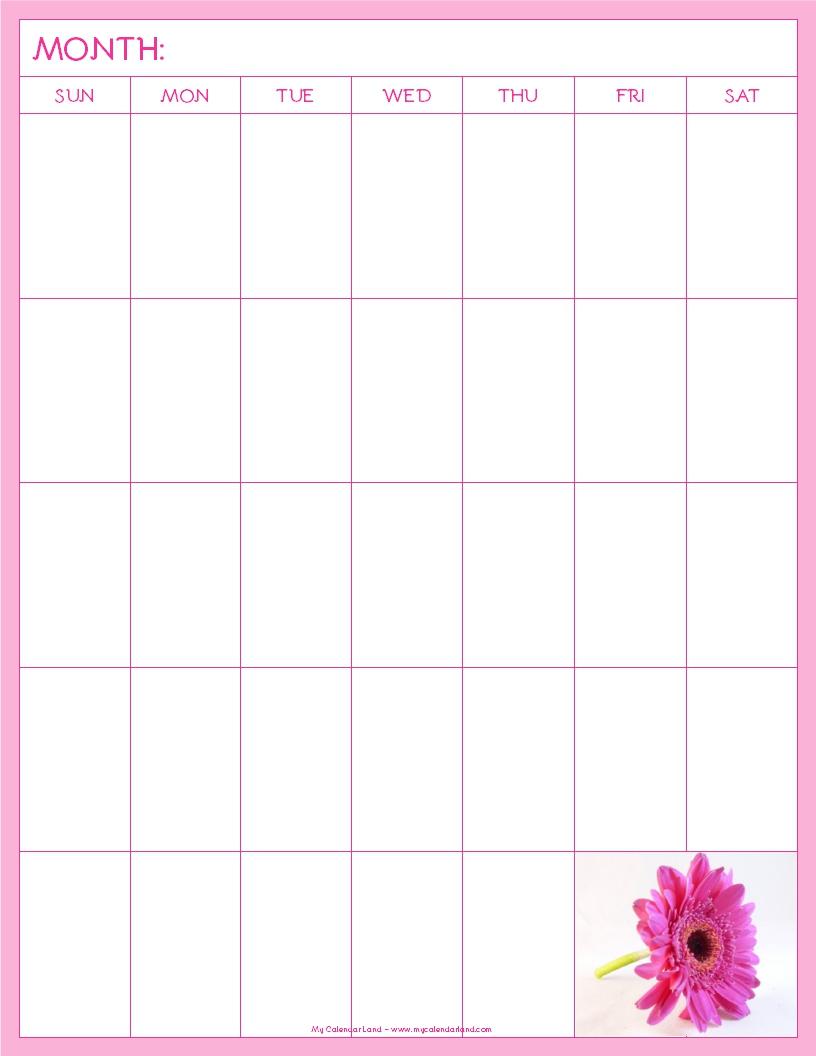 Weekly Calendar Cute : Blank calendar printable my land