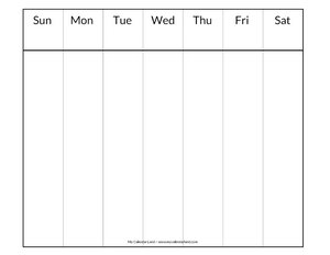 picture relating to Blank Weekly Calendar Template known as Blank Calendar Printable - My Calendar Land