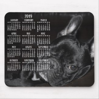french bulldog calendar 2019 mouse pad