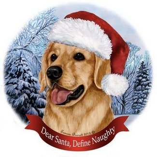 porcelain christmas ornament golden retriever