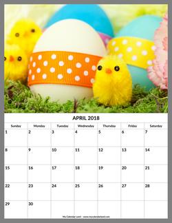 april 2018 calendar easter