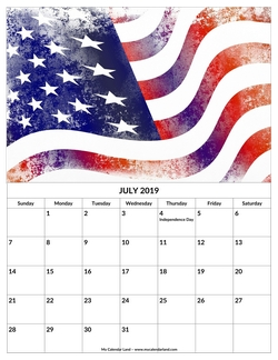 july 2019 calendar independence day