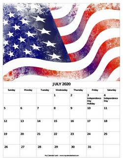 july 2020 calendar independence day