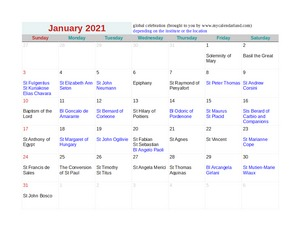 2021 january calendar with religious days holidays c