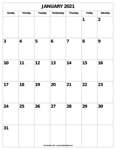 blank january calendar page portrait c