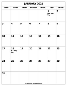 blank january calendar with holidays c