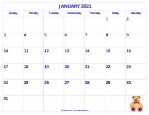 calendar january 2021 with teddy bear c