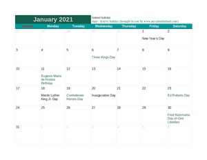 january 2021 calendar with american holidays c