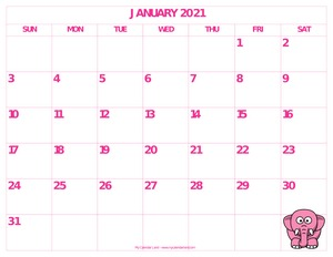 pretty january 2021 calendar landscape c