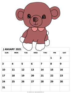 printable calendar for january for children c