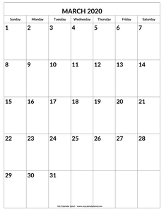blank march 2020 calendar to print c