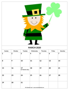 calendar march 2020 st patrick holiday c