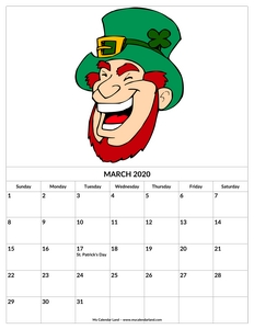 march 2020 calendar holiday st patrick c