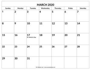 printable blank march calendar with holidays c