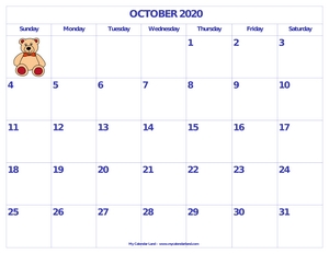 2020 cute printable monthly calendar c