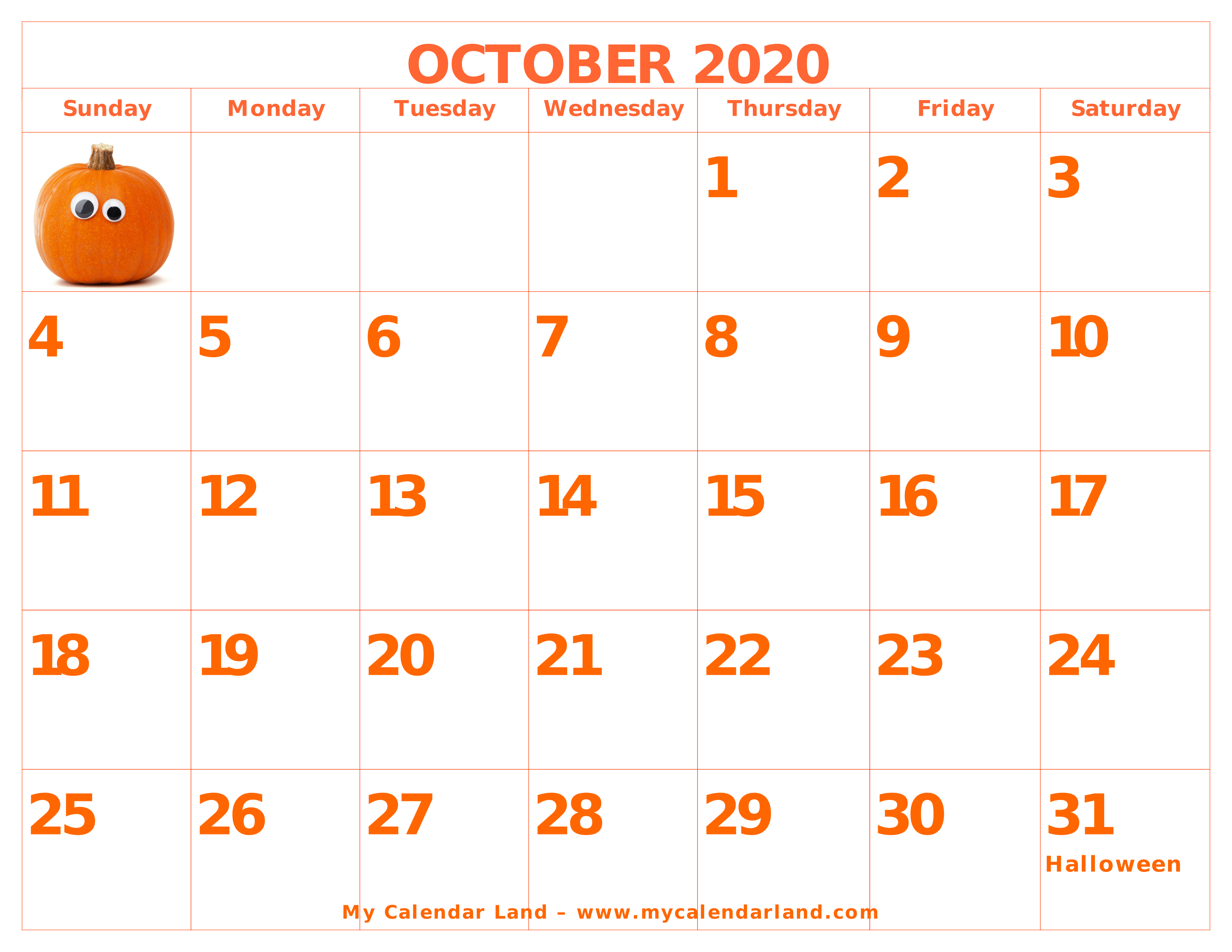 Cool Calendar Printable By Month 2020 October Halloween For School October 2020 Calendar   My Calendar Land