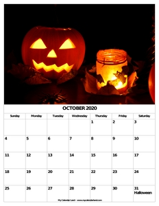 halloween themed calendar c